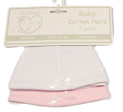 Premature Baby Hats Pink/White or Blue/White