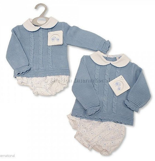 My Little Chick Knitted/Woven Unisex Set - Blue Stars