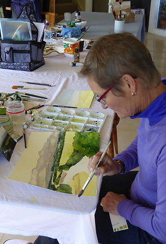 Jenny working on a watercolour