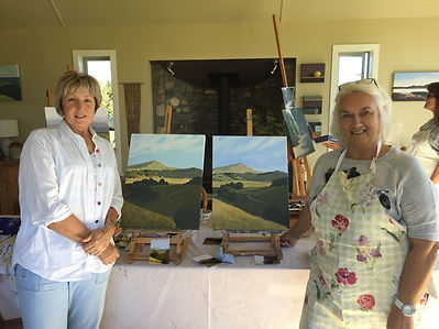 Susie & Jane with their second landscapes
