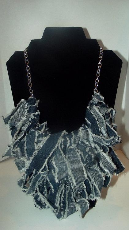Denim clustered necklace