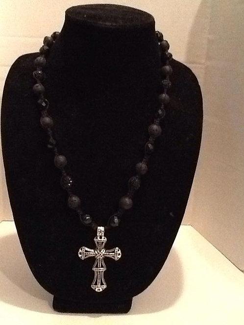 Black Shamballa Style necklace w/black onyx