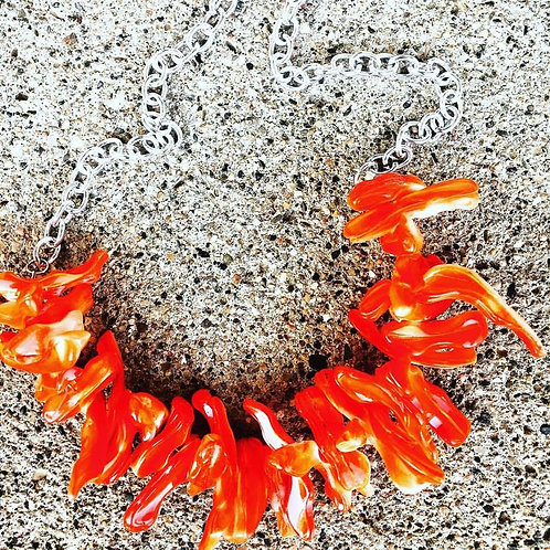 Orange-Red Shell Necklace