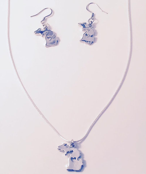 Michigan Necklace and Earring Set