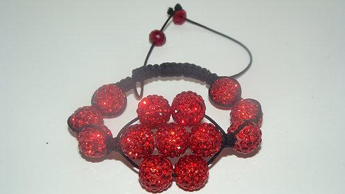 Red flower Shamballa Style Bracelet