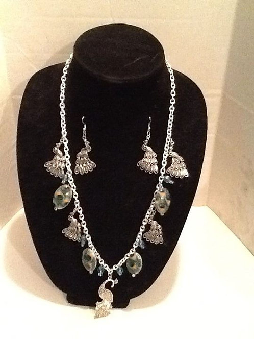 Peacock cluster necklace set