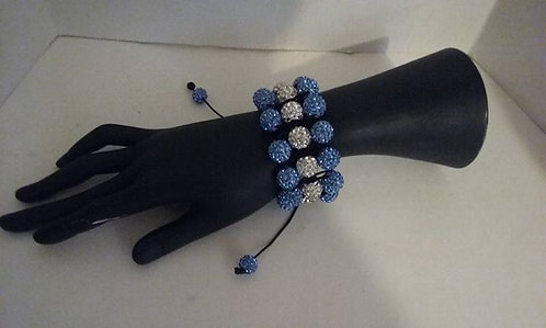 triple blue and clear shamballa style bracelet