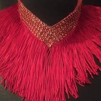 Red fringe necklace
