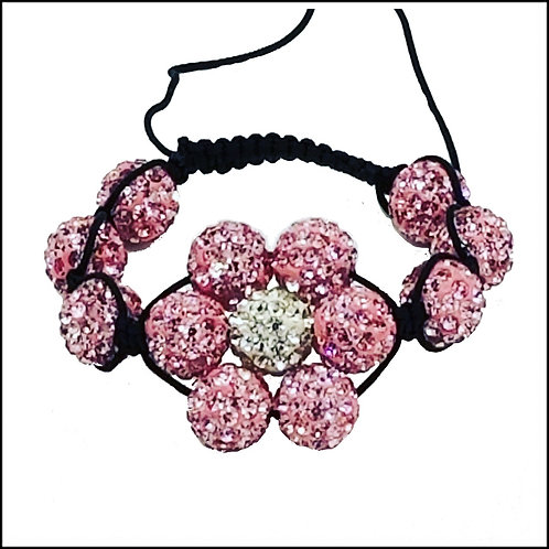 Pink and White Flower Shamballa Style Bracelet