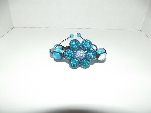 Blue Flower Shamballa Style Bracelet