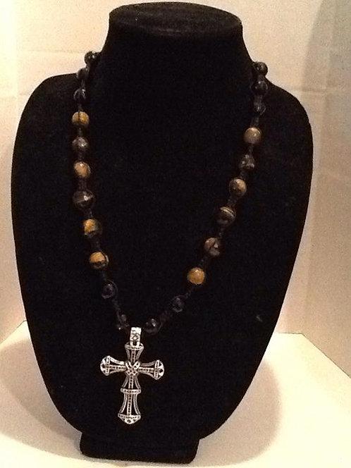 Shamballa Style Necklace - Tiger's eye w/cross