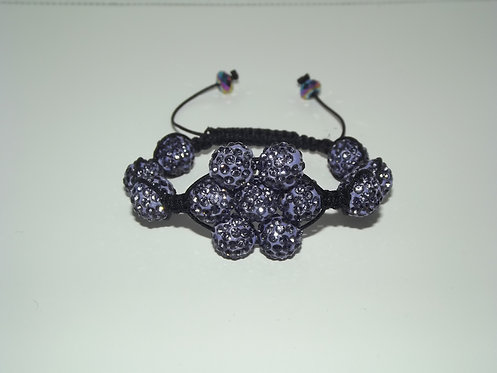 Purple Flower Shamballa Style Bracelet