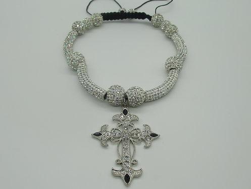 Shamballa Style Cross Necklace