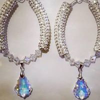 Silver Swarovski oval earrings