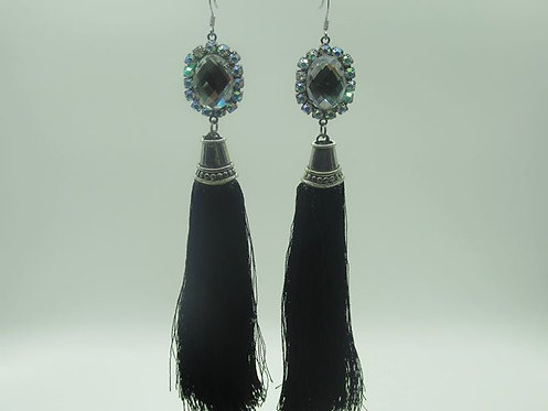 Black shingle earrings