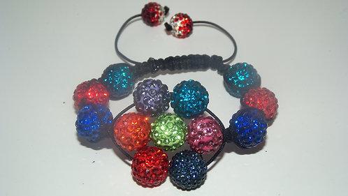 Multicolor Flower Shamballa Style Bracelet