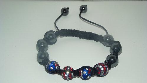 Red White Blue Shamballa Style Bracelet