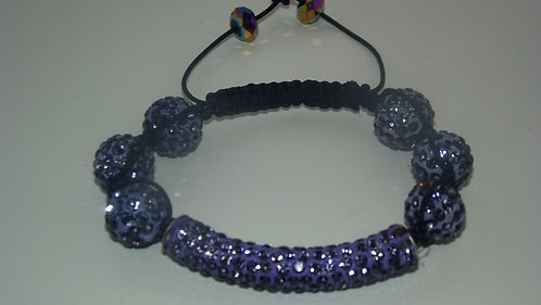 Purple Bar Shamballa Style Bracelet