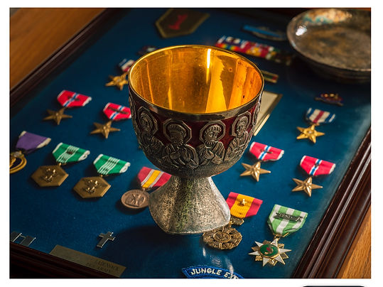 Chalice Joe's parents gave him when he was ordained with his Vietnam medials