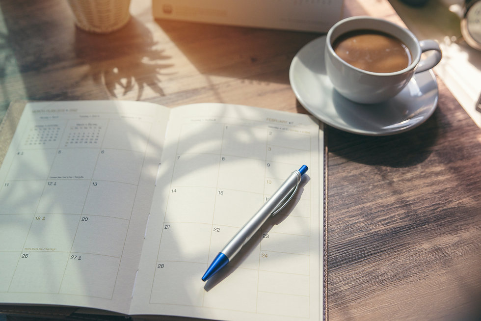 Planner write meeting agenda at Calendar book, work online at home. Diary for organizer to