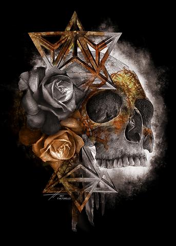 Polygon Skull Golden
