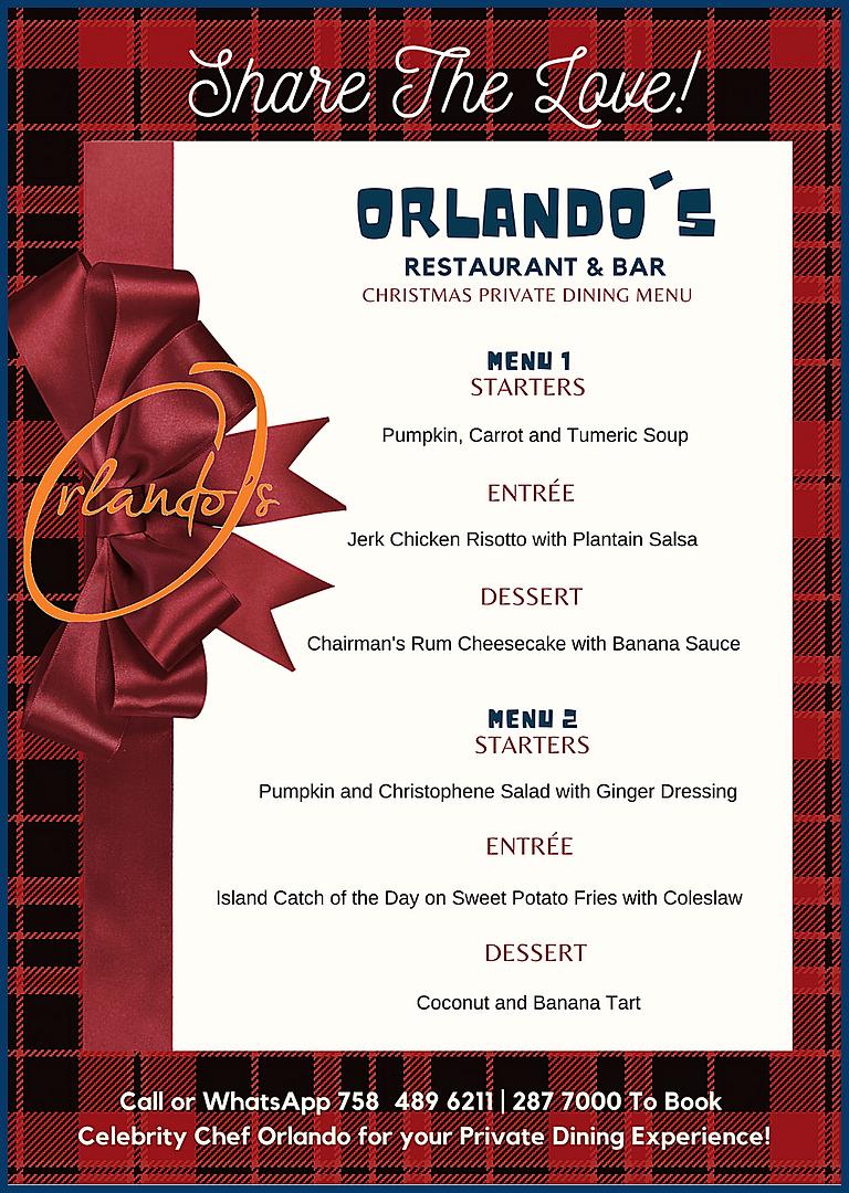 ORLLANDO'S PRIVATE DINING MENU