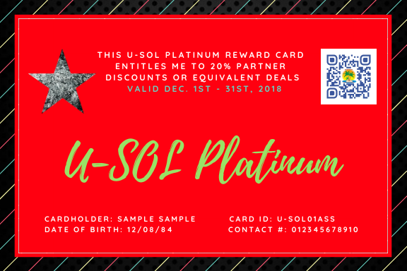 Purchase your U-SOL Platinum Reward Card NOW!