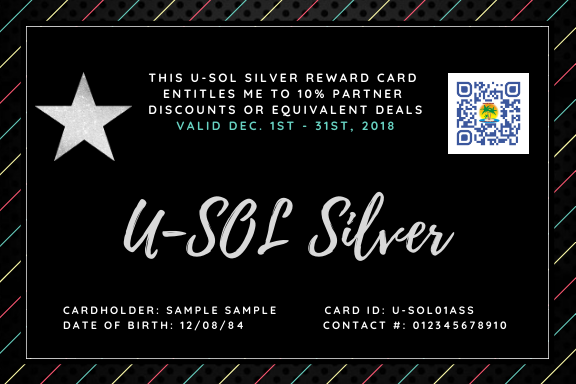 Purchase your U-SOL Silver Reward Card NOW!