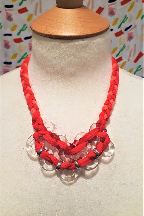 Coral & Hot Pink braided eight necklace