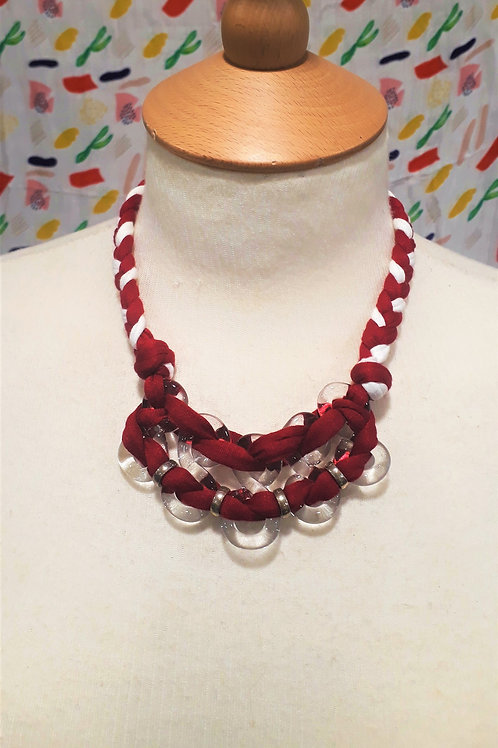 Red & White braided eight necklace