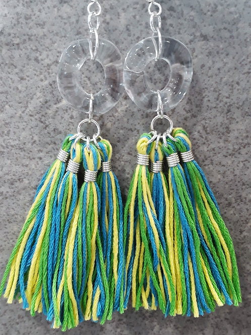 Multi tassel earrings-green