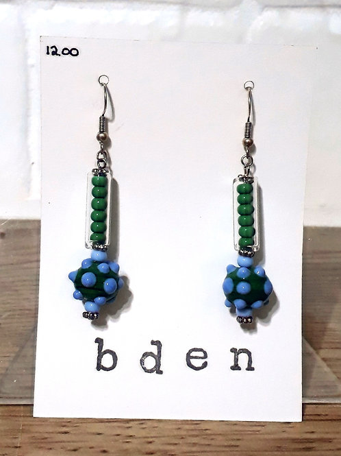 Green bobble tube earrings