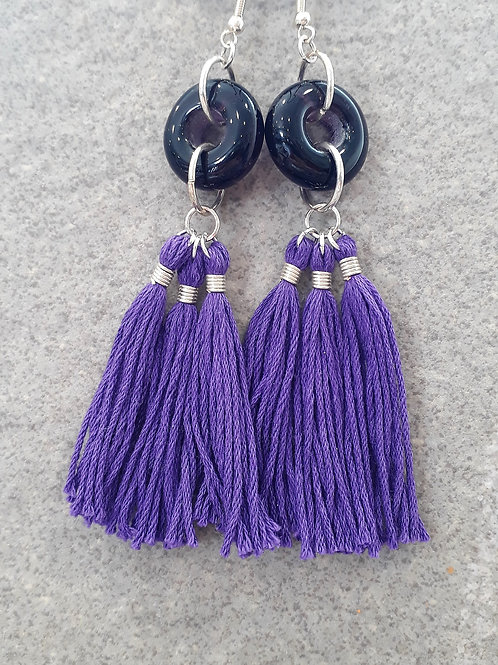 Purple transparent bead & tassel earrings