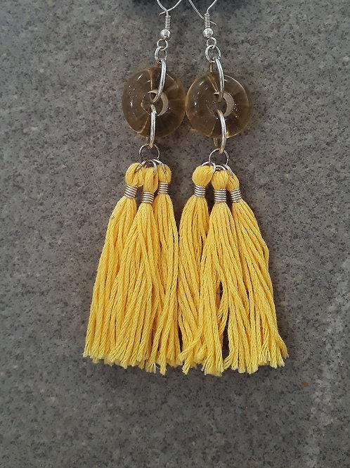 Yellow transparent bead & tassel earrings