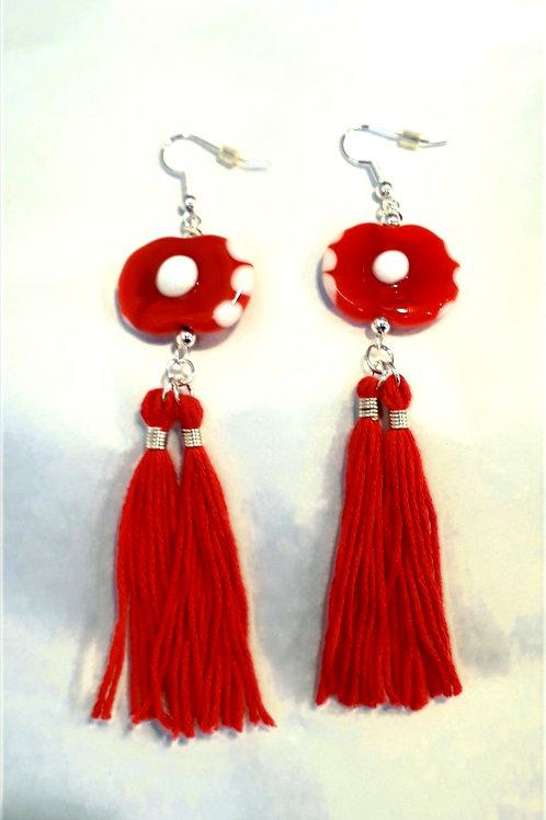 Red /Blue spotty tassel earrings