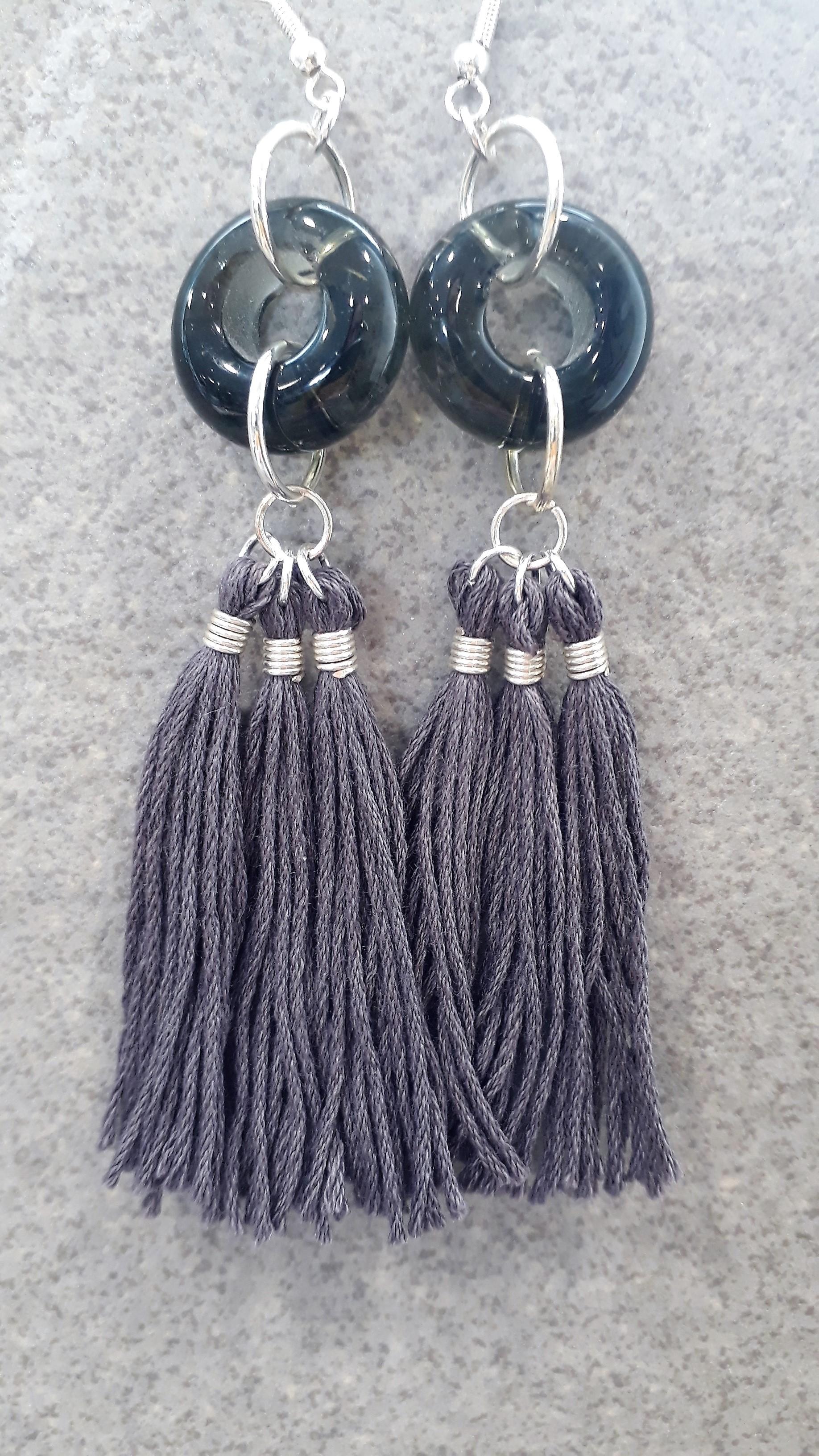 Grey bead & tassel earrings