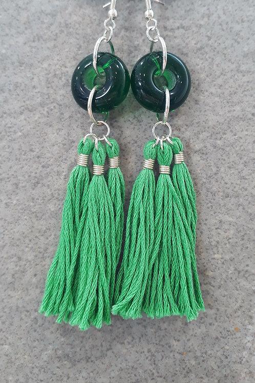 Green transparent bead & tassel earrings