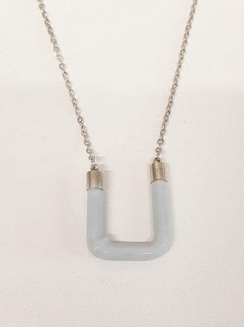 Gray candy bar necklace