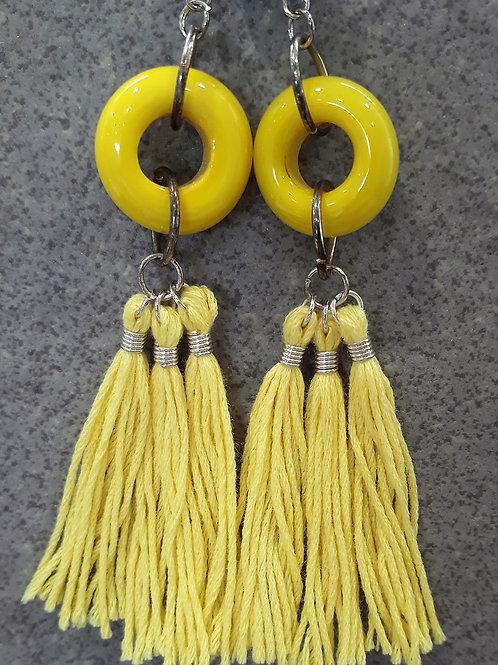 Yellow opaque tassel earrings