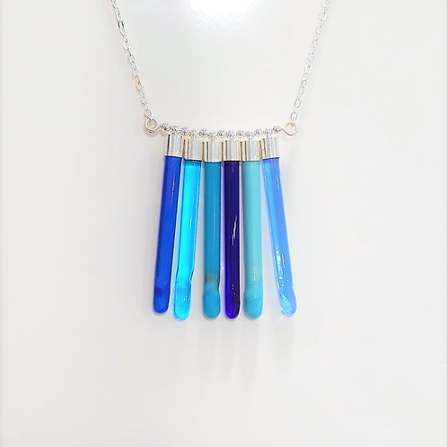 Pipes necklace 6 -blues