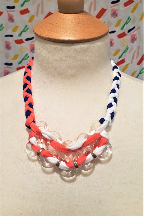 White, Blue & Coral braided eight necklace