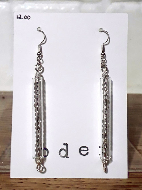 Silver tube earrings