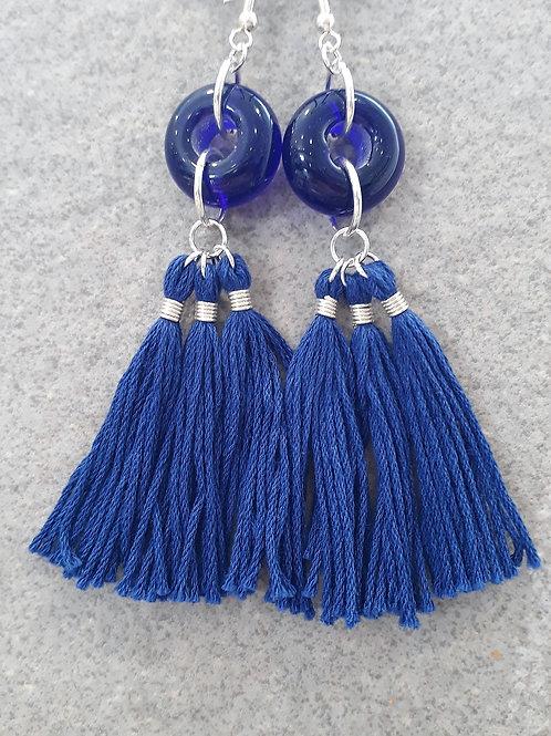 Blue transparent tassel earrings