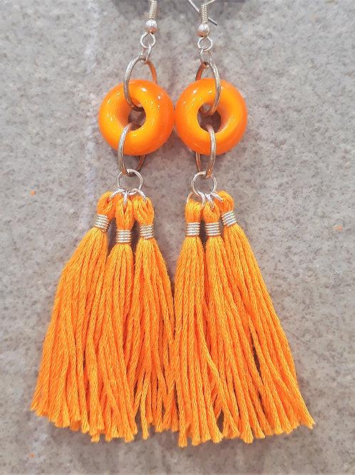 Orange opaque tassel earrings
