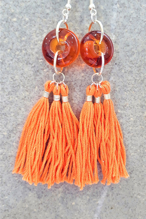 Orange transparent bead & tassel earrings