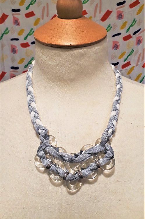 White & Grey braided eight necklace