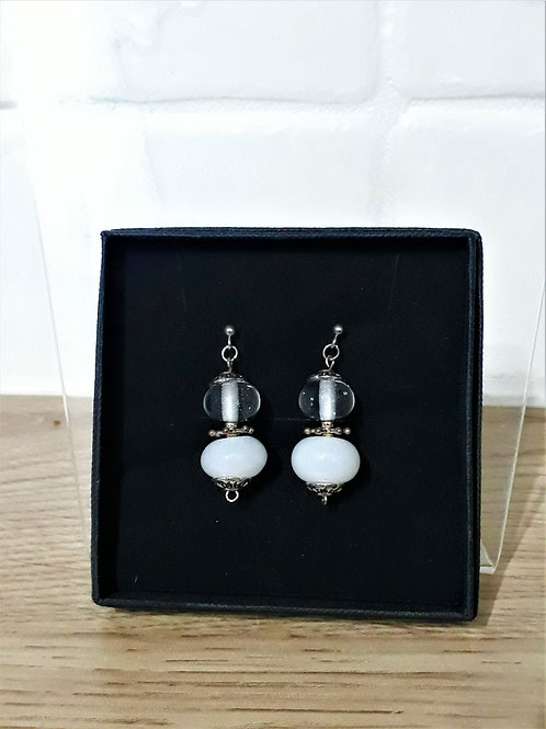 White duo bead earrings