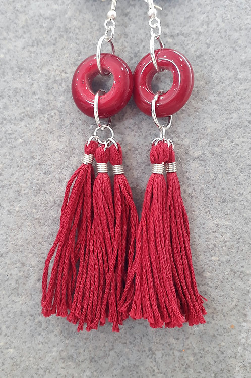 Red opaque tassel earrings