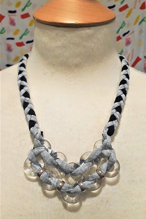 Grey & Black braided eight necklace
