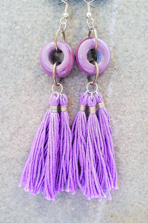 Purple opaque tassel earrings